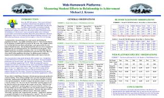 Web-Homework Platforms :   Measuring Student Efforts in Relationship to Achievement