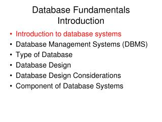 Database Fundamentals Introduction