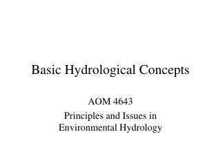 Basic Hydrological Concepts