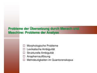 Probleme der  bersetzung durch Mensch und Maschine: Probleme der Analyse