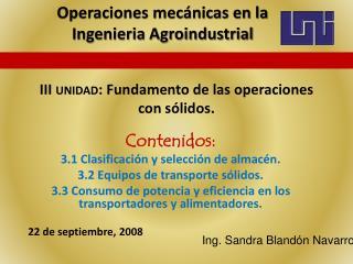 III unidad: Fundamento de las operaciones con s lidos.