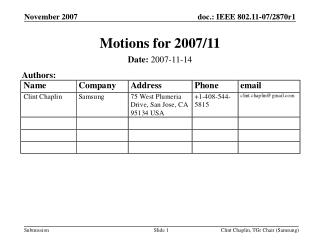 Motions for 2007/11