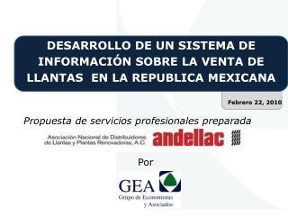 DESARROLLO DE UN SISTEMA DE INFORMACIÓN SOBRE LA VENTA DE LLANTAS  EN LA REPUBLICA  MEXICANA