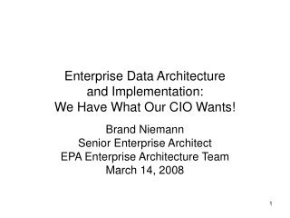 Enterprise Data Architecture and Implementation: We Have What Our CIO Wants!