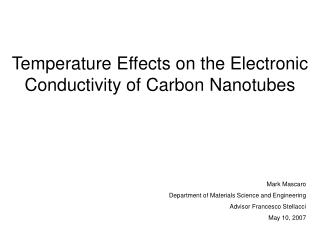 Temperature Effects on the Electronic Conductivity of Carbon Nanotubes