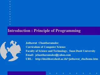 Introduction : Principle of Programming