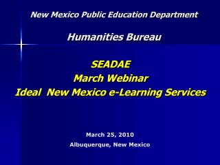 New Mexico Public Education Department Humanities Bureau