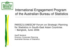 International Engagement Program of the Australian Bureau of Statistics