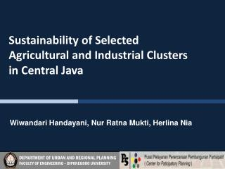 Sustainability of Selected  Agricultural and Industrial Clusters  in Central Java