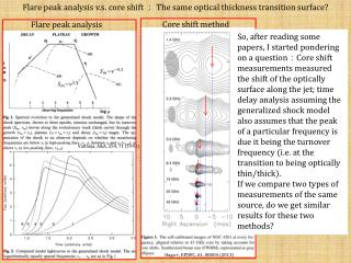 Flare peak analysis  v.s . core shift  :  The same optical thickness transition surface?
