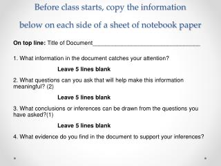 Before class starts, copy the information          below on each side of a sheet of notebook paper