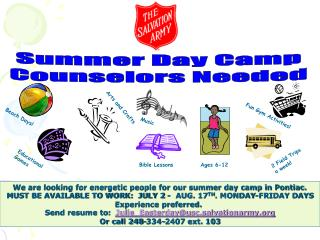 Summer Day Camp Counselors Needed