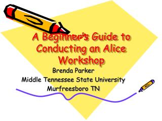 A Beginner's Guide to Conducting an Alice Workshop