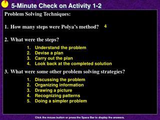 5-Minute Check on Activity  1-2
