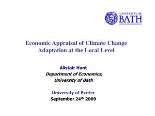 Economic Appraisal of Climate Change Adaptation at the Local Level