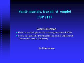 Sant  mentale, travail  et  emploi PSP 2125