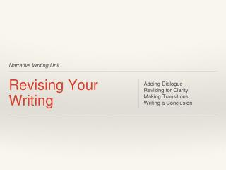 Revising Your Writing