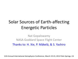 Solar Sources of Earth-affecting Energetic Particles
