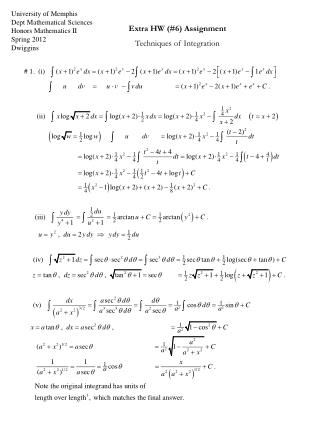 University of Memphis Dept Mathematical Sciences Honors Mathematics II Spring 2012 Dwiggins