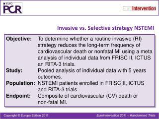 Invasive vs. Selective strategy NSTEMI
