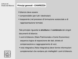 Principi generali - CHIAREZZA
