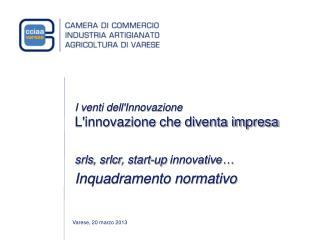 I venti dell'Innovazione L'innovazione che diventa impresa