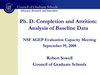 Ph. D. Completion and Attrition:  Analysis of Baseline Data