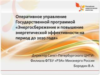 Директор Санкт-Петербургского ЦНТИ-  Филиала ФГБУ «РЭА» Минэнерго России Бородин В.А.