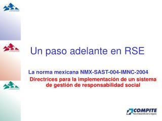 Un paso adelante en RSE