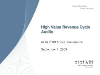 High Value Revenue Cycle Audits
