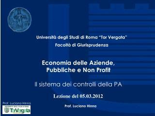 Economia delle Aziende,  Pubbliche e Non Profit Il sistema dei controlli della PA