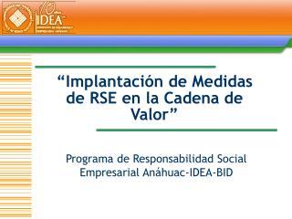 Implantaci n de Medidas de RSE en la Cadena de Valor