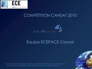 COMPÉTITION CANSAT 2010 Équipe ECEPACE Cansat