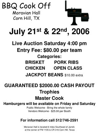BBQ Cook Off Moravian Hall Corn Hill, TX