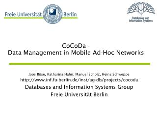 CoCoDa - Data Management in Mobile Ad-Hoc Networks