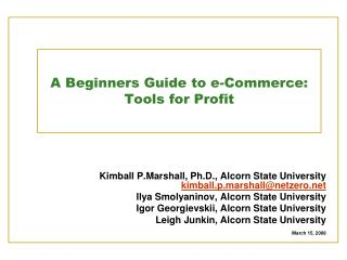 A Beginners Guide to e-Commerce: Tools for Profit