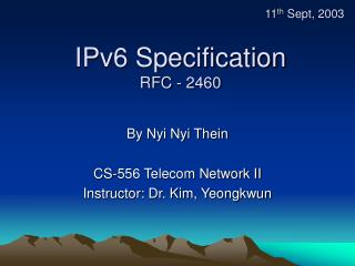 IPv6 Specification RFC - 2460