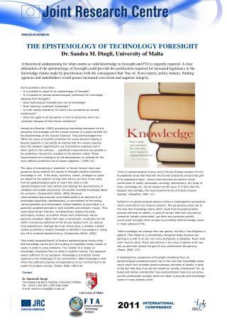 Contact Dr. Sandra M. Dingli The Edward de Bono Institute, University of Malta