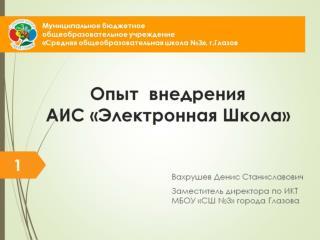 Опыт  внедрения АИС «Электронная Школа»