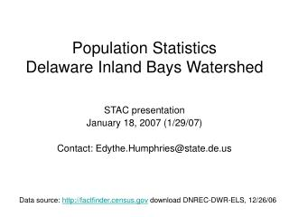 Population Statistics Delaware Inland Bays Watershed