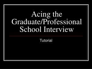 al School Interview