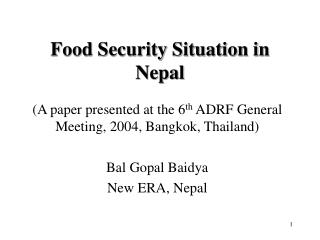 Food Security Situation in Nepal