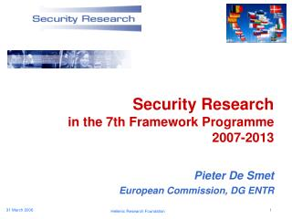 Security Research in the 7th Framework Programme 2007-2013
