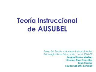 Tema 26: Teor a y Modelos Instruccionales Psicolog a de la Educaci n, curso 2006-07 Jezabel Bravo Medina Romina D az Gon