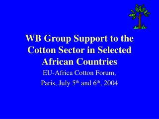 WB Group Support to the Cotton Sector in Selected African Countries