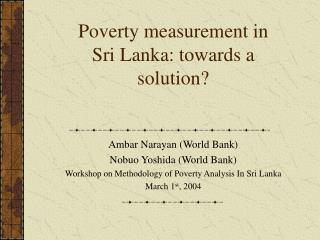 Poverty measurement in Sri Lanka: towards a solution?