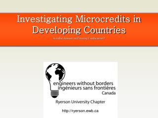 Investigating Microcredits in Developing Countries