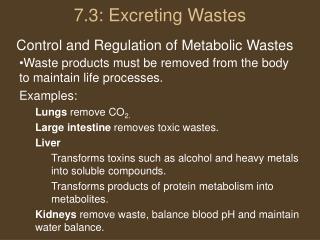 7.3: Excreting Wastes