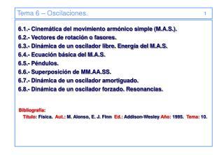 Tema 6 – Oscilaciones.