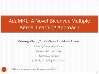 AdaMKL: A Novel Biconvex Multiple Kernel Learning Approach